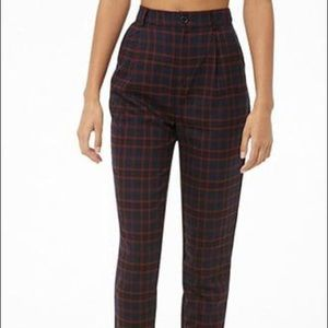 F21 Navy/Red Plaid Trousers